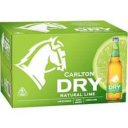 CARLTON DRY LIME FUSION 355ML STUBBIES